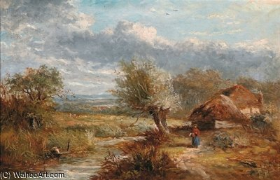 Summer Landscape With Farm Cottages By A Stream by Abraham Hulk Senior (1813-1897, Netherlands) | Famous Paintings Reproductions | WahooArt.com