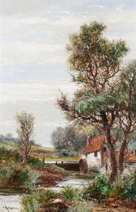 Order Museum Quality Reproductions : The Watermill by Abraham Hulk Senior (1813-1897, Netherlands) | WahooArt.com