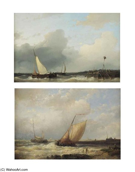 Two Dutch 'platbodems' Shipping Off The Coast by Abraham Hulk Senior (1813-1897, Netherlands)
