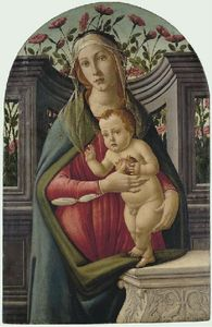 Sandro Botticelli - The Madonna And Child, With A Pomegranate, In An Alcove With Roses Behind