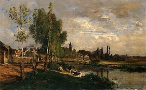 Alexandre Rene Veron - Washerwomen By The Water At Morning