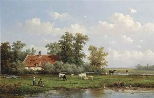 Anthonie Jacobus Van Wijngaerdt - A Polder Landscape With Figures And Cattle