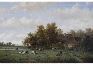 Anthonie Jacobus Van Wijngaerdt - Cattle In A Summer Meadow