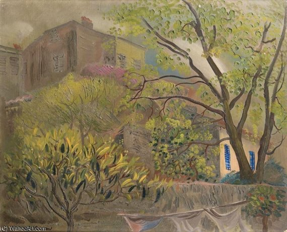 House With A Pink Roof by Boris Dmitrievich Grigoriev (1886-1939, Russia) | Museum Art Reproductions Boris Dmitrievich Grigoriev | WahooArt.com