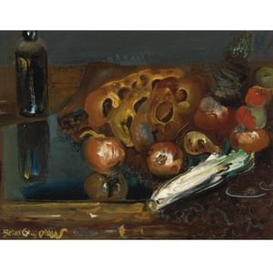 Boris Dmitrievich Grigoriev - Still Life With Bread And Vegetables