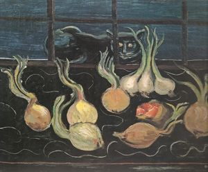 Boris Dmitrievich Grigoriev - Still-life With Cat And Onions