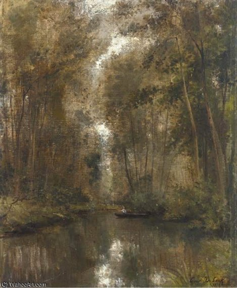 Fishing In The Woods by Cesar De Cock (1823-1904, Belgium) | Art Reproductions Cesar De Cock | WahooArt.com