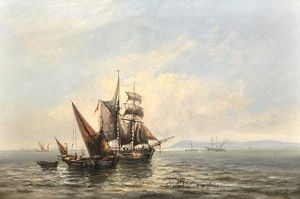 Charles John De Lacy - Sailing Vessels In A Calm,