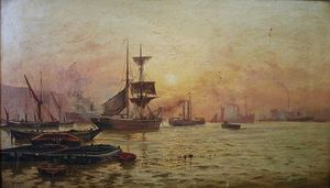 Charles John De Lacy - Shipping Scene On The Thames At Twilight
