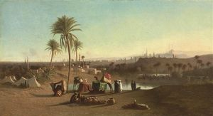 Charles Théodore Frère (Bey) - A View From The Desert Towards Cairo