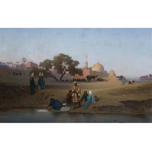 Charles Théodore Frère - A Village Along The Nile Near Cairo