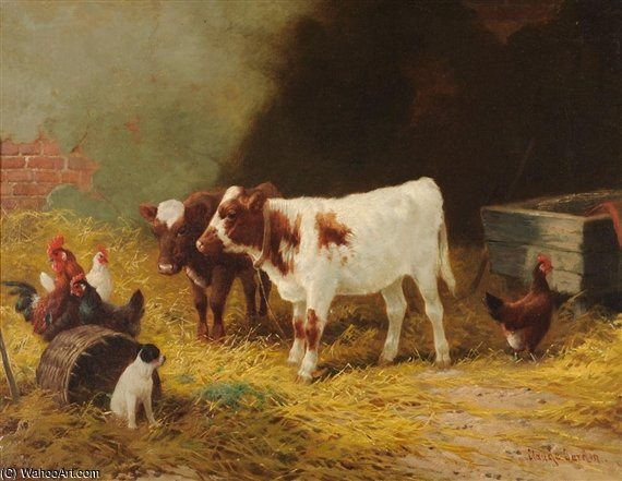 Calves, Chickens And Dogs In A Stable Interior by Claude Cardon (1892-1915, France)