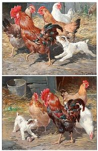 Claude Cardon - Chickens And Puppies In A Farmyard, And Another Similar, A Pair,