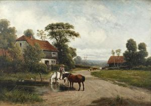 Claude Cardon - Horses Watering In A Rural Landscape