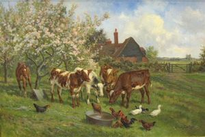 Order Oil Painting : In An Orchard by Claude Cardon (1892-1915, France) | WahooArt.com