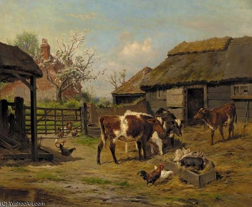 In The Farmyard by Claude Cardon (1892-1915, France) | Famous Paintings Reproductions | WahooArt.com