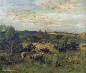 Claude Cardon - Landscape With Sheep And Rabbit