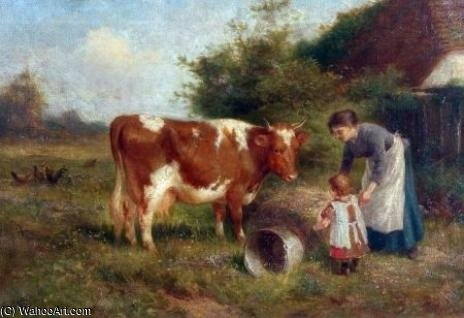 Milking Time by Claude Cardon (1892-1915, France) | Art Reproduction | WahooArt.com