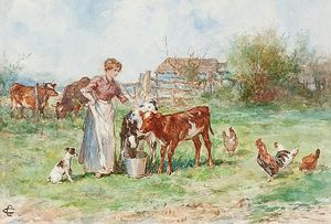 Claude Cardon - Milkmaid With Calves