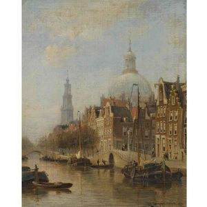 Cornelis Christiaan Dommelshuizen - A View Of An Amsterdam Canal
