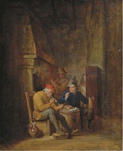 Cornelis Mahu - Peasants Smoking And Drinking In An Interior