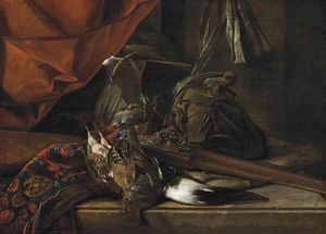 Cornelis Van Lelienbergh - A Partridge, A Hunting Horn, A Musket And Game Bags On A Partly Draped Stone Ledge