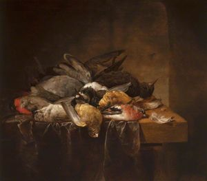 Order Famous Paintings Reproductions : Dead Songbirds On A Table by Cornelis Van Lelienbergh (1626-1676, Netherlands) | WahooArt.com