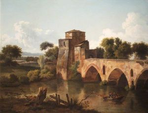 Cornelius Decker - A River Scene With A Bridge And A Boat, With Fishermen In The Foreground