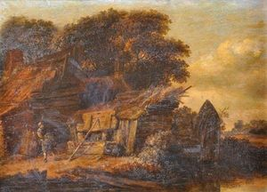 Cornelius Decker - A Wooded River Landscape With A Figure Outside A Cottage