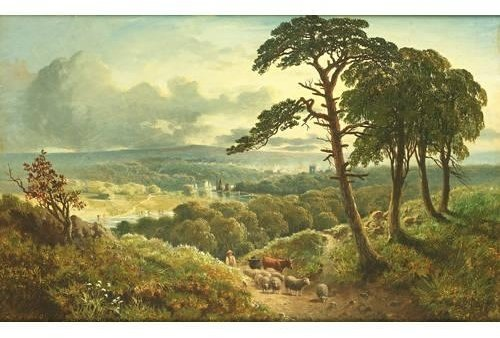Order Museum Quality Reproductions : Driving Cattle And Sheep On A Woodland Path by Edmund John Niemann (1813-1876, United Kingdom) | WahooArt.com