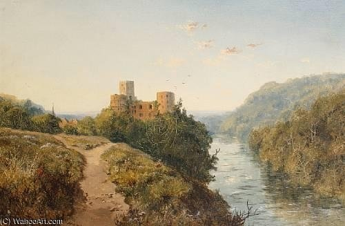 Order Museum Quality Reproductions : Goodrich Castle On The River Wye by Edmund John Niemann (1813-1876, United Kingdom) | WahooArt.com