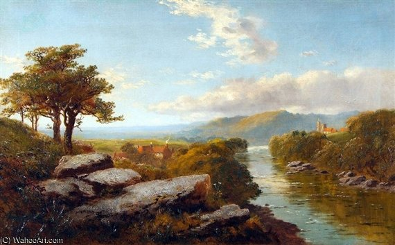 River Landscape, Thought To Be The River Swale by Edmund John Niemann (1813-1876, United Kingdom) | Oil Painting | WahooArt.com