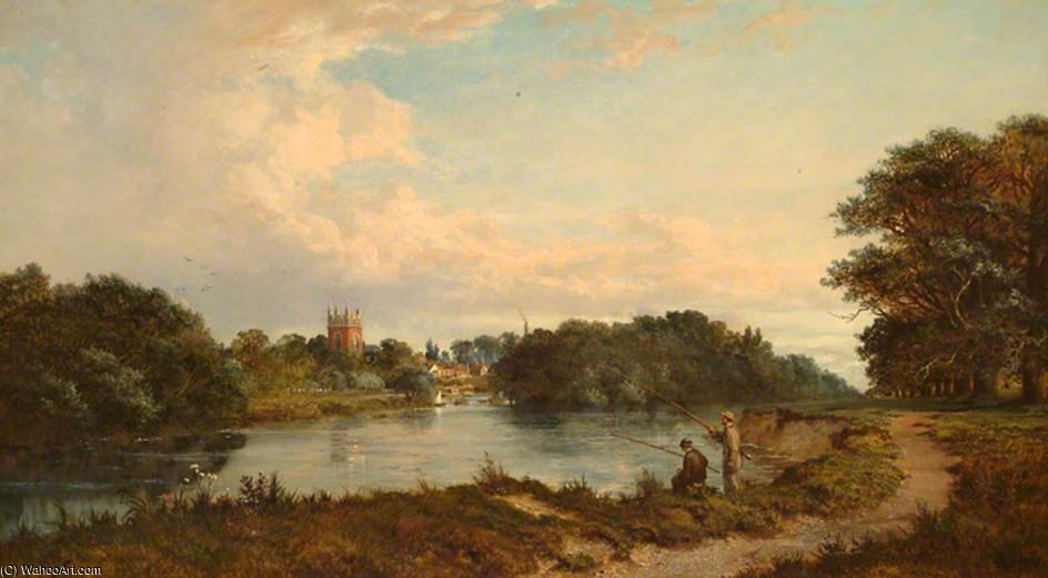 Staines With St Mary`s Church by Edmund John Niemann (1813-1876, United Kingdom) | Famous Paintings Reproductions | WahooArt.com