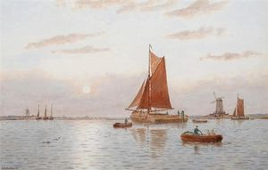 George Stanfield Walters - A Mizzen And Sailing Ship Off Gravesend