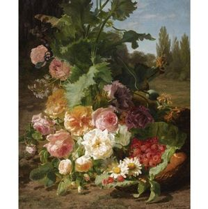Geraldine Jacoba Van De Sande Bakhuyzen - A Still Life With Roses, Daisies, Raspberries And Peaches In A Landscape