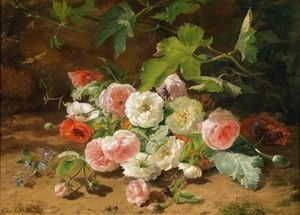 Geraldine Jacoba Van De Sande Bakhuyzen - Bouquet Of Roses On The Forest Floor With Beetle And Butterfly