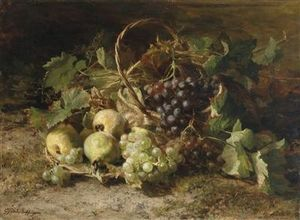 Geraldine Jacoba Van De Sande Bakhuyzen - Corative Still Life With Grapes And Pears