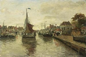 Gerhard Arij Ludwig Morgenstje Munthe - A View Of A Village With Boats In A Harbour