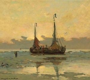 Gerhard Arij Ludwig Morgenstje Munthe - Fishing Boats At Low Tide