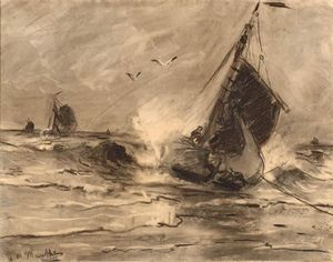 Gerhard Morgenstjerne Munthe - Flatbottom Boat In The Surf