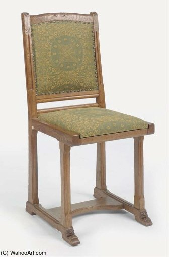 A Carved Oak Sidechair by Gerrit Willem Dijsselhof (1866-1924, Netherlands) | Reproductions Gerrit Willem Dijsselhof | WahooArt.com