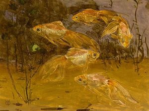 Gerrit Willem Dijsselhof - Goldfish In An Aquarium