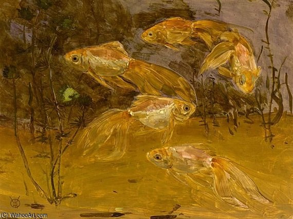 Goldfish In An Aquarium by Gerrit Willem Dijsselhof (1866-1924, Netherlands)