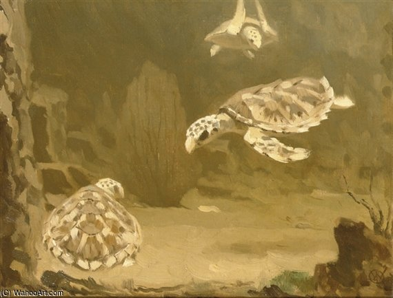 Turtles by Gerrit Willem Dijsselhof (1866-1924, Netherlands)