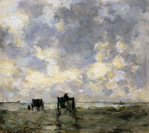Johan Hendrik Weissenbruch - Shell Carts On The Beach