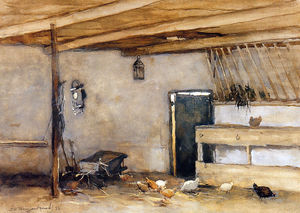 Johan Hendrik Weissenbruch - Stable With Chickens