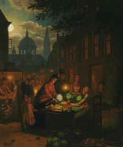 Johann Mongels Culverhouse - The Vegetable Market At Night