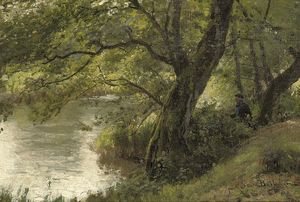 Julius Jacobus Van De Sande Bakhuyzen - Fishing Near A Woodland Stream