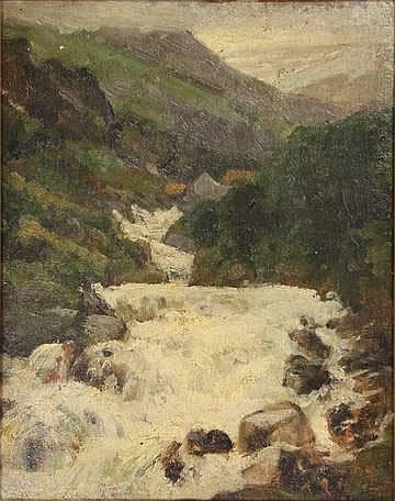 Order Art Reproductions | Rocky Landscape With Waterfall by Julius Jacobus Van De Sande Bakhuyzen (1795-1860, Netherlands) | WahooArt.com