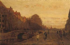 Julius Jacobus Van De Sande Bakhuyzen - The Spui At Sunset